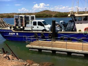 Our truck loaded with sliding doors at Onslow Jetty, on its way to Thevenard Island.